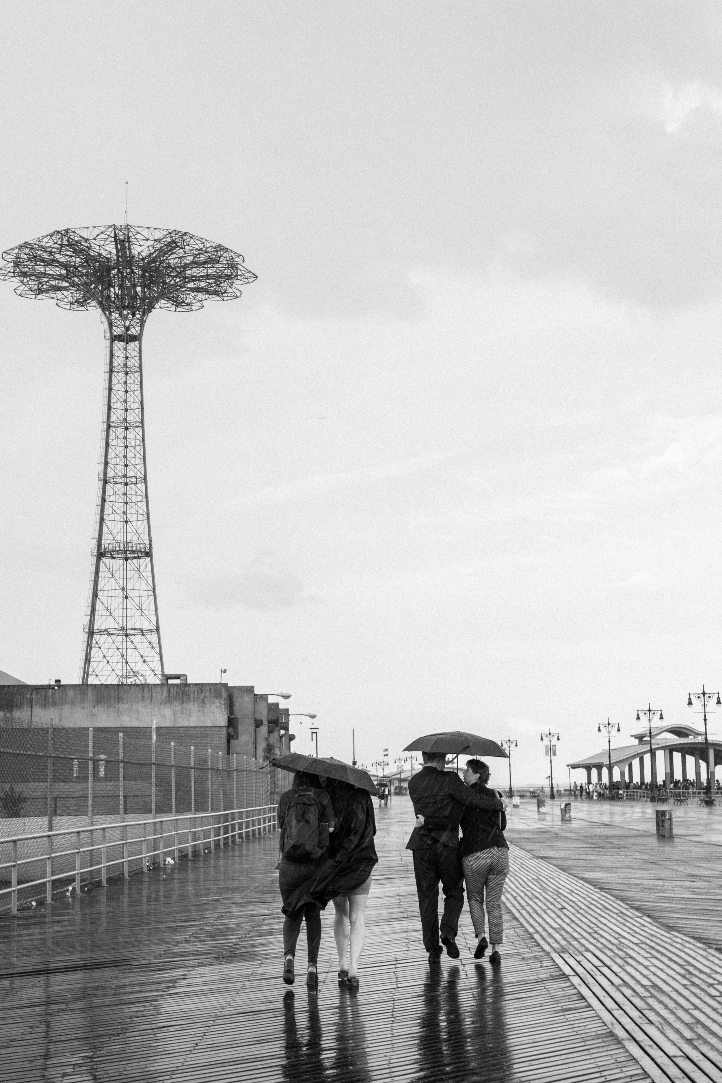 An Image of Coney Island Parachute Jump Rain Black and White Brooklyn New York.NEF