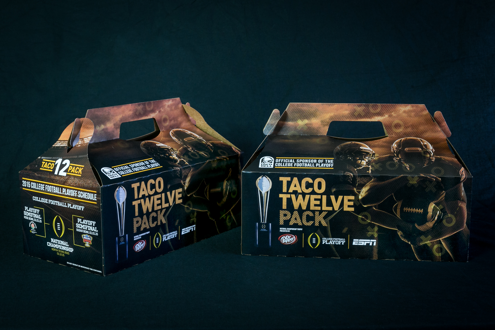 Packaging design for Taco Bell's Taco Twelve Pack. This box was being sold during the College Football Playoffs.