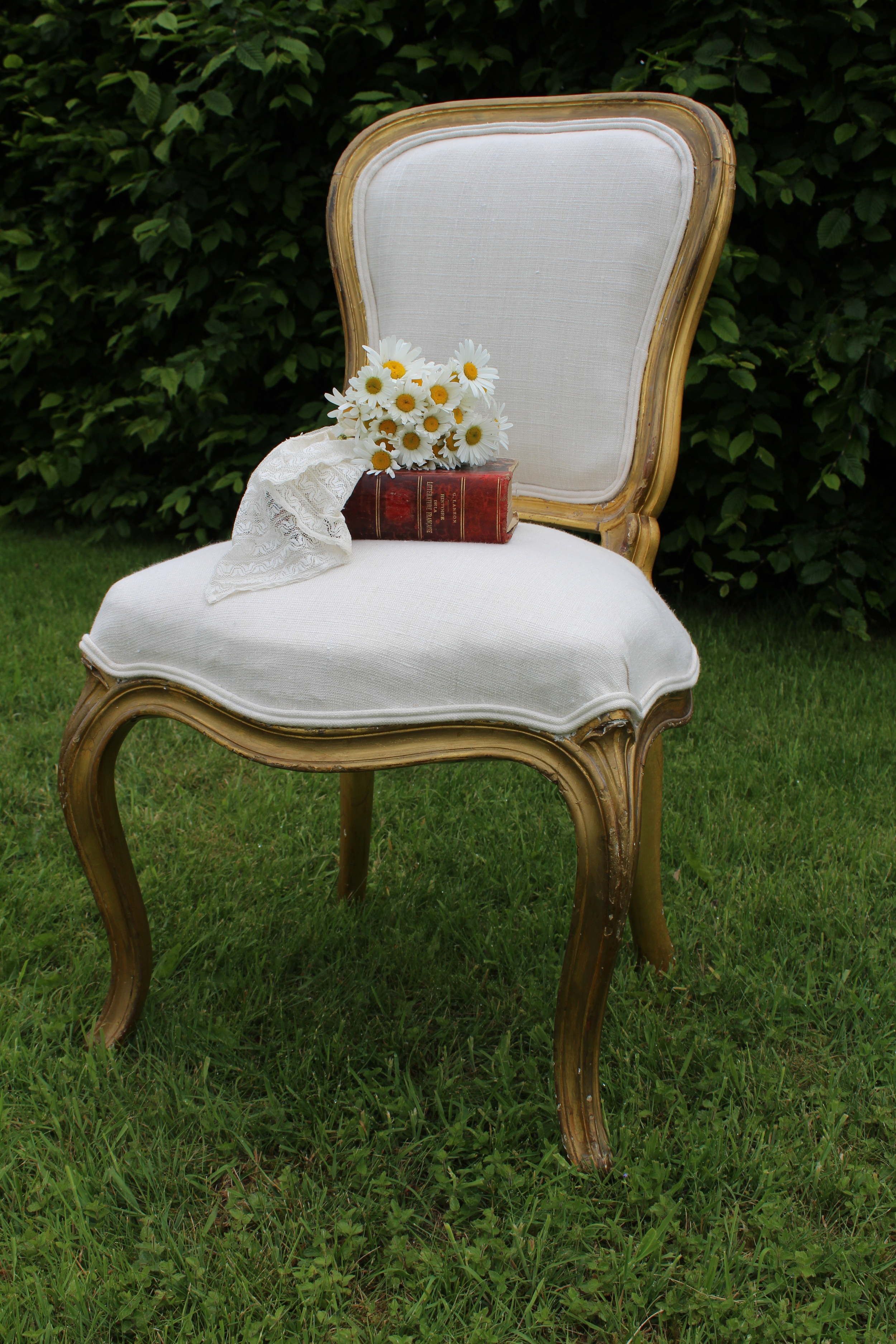 Beautiful antique gilded chair, recovered in linen. £150sold