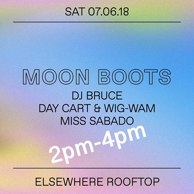 Tomorrow! These fine gentlemen and I are taking over @elsewherespace rooftop for a Saturday daytime throw down @moonbootsmusic @clublonely @goonroomnyc @daycart_ @wig.wam_. If you wanna come, hit yer girrl up so she can take care of you. I open from 2-4pm 💋 #xoxo #misssabado