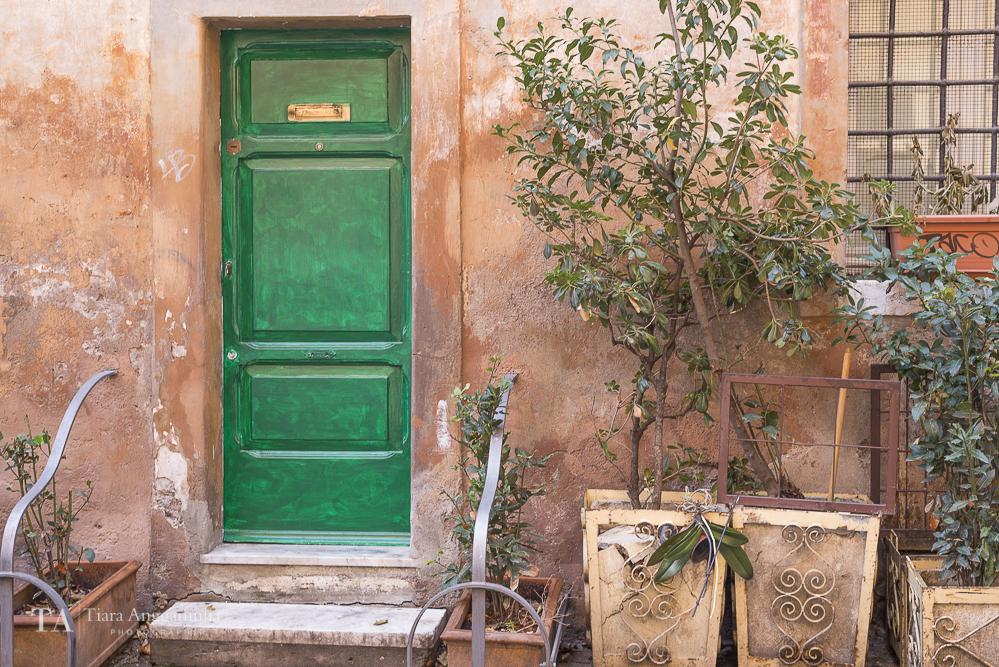 Beautiful facade in Trastevere neighbourhood.