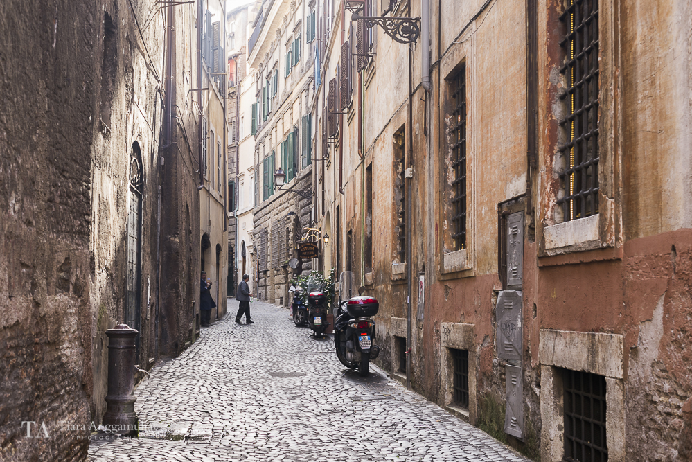 One of Rome's charming narrow streets.