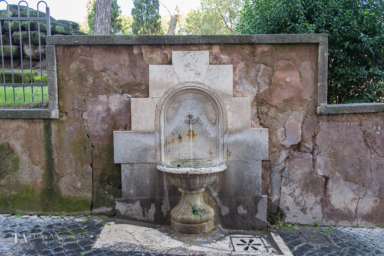 A Roman water fountain.