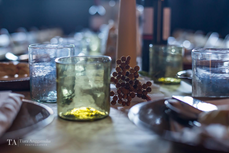 Details of dinner table at Kinfolk gathering.
