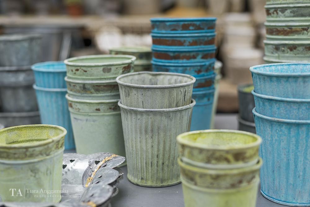 Colourful tin pots.