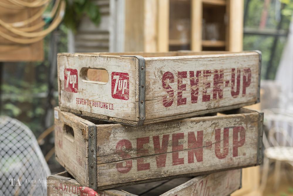 Vintage Seven-Up wooden crates.