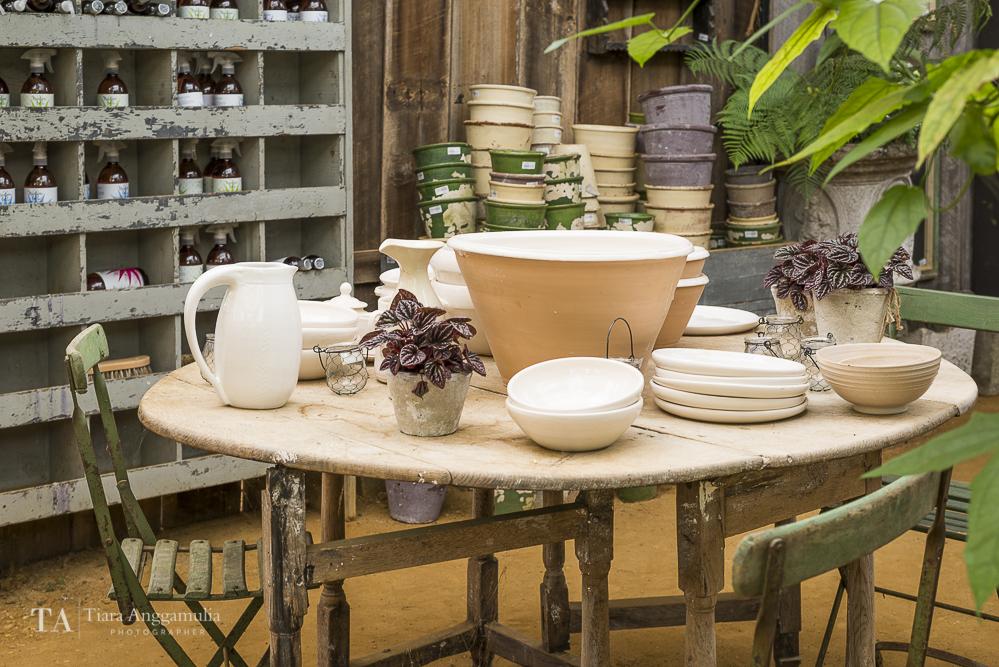 Vintage furniture and tableware at Petersham Nurseries.