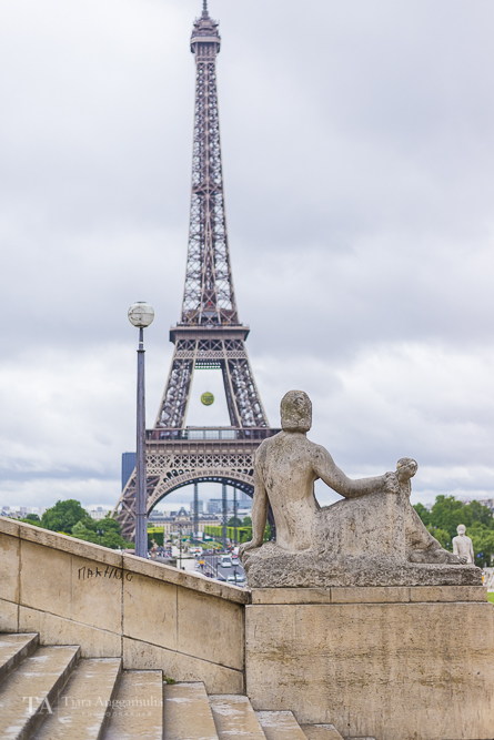 A view towards the Eiffel Tower from Palais de Chaillot.