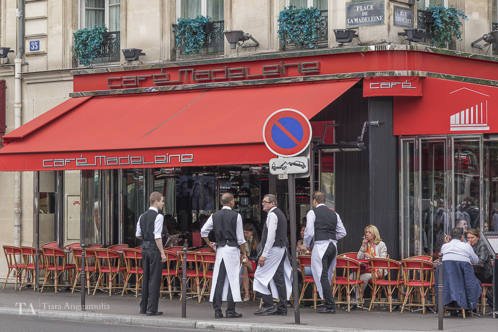 Waiters at Cafe Madeleine on Place de la Madeleine.