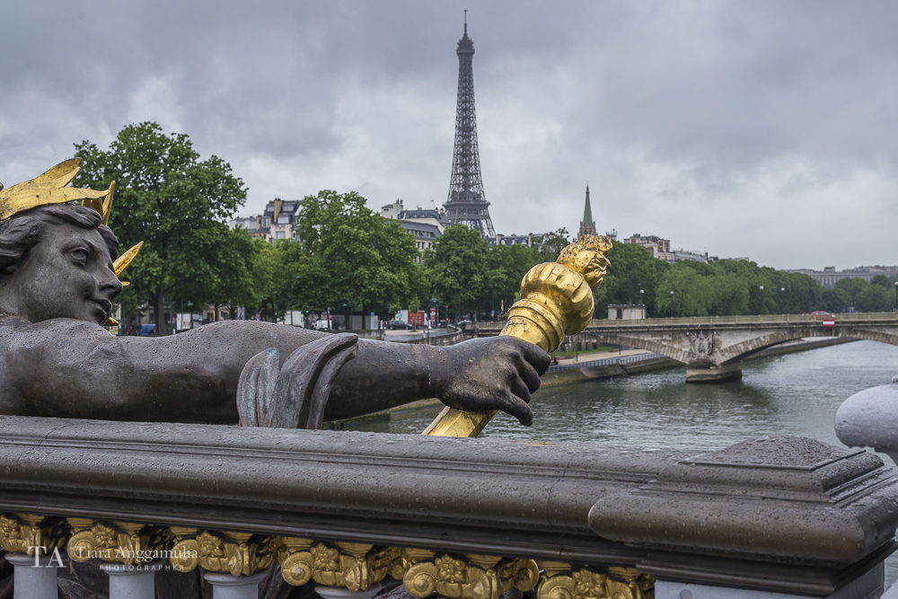 A view from Pont Alexandre III towards the Eiffel Tower.