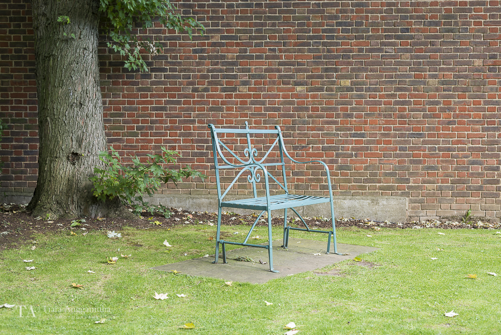 Bench in the garden of Geffrye Museum.