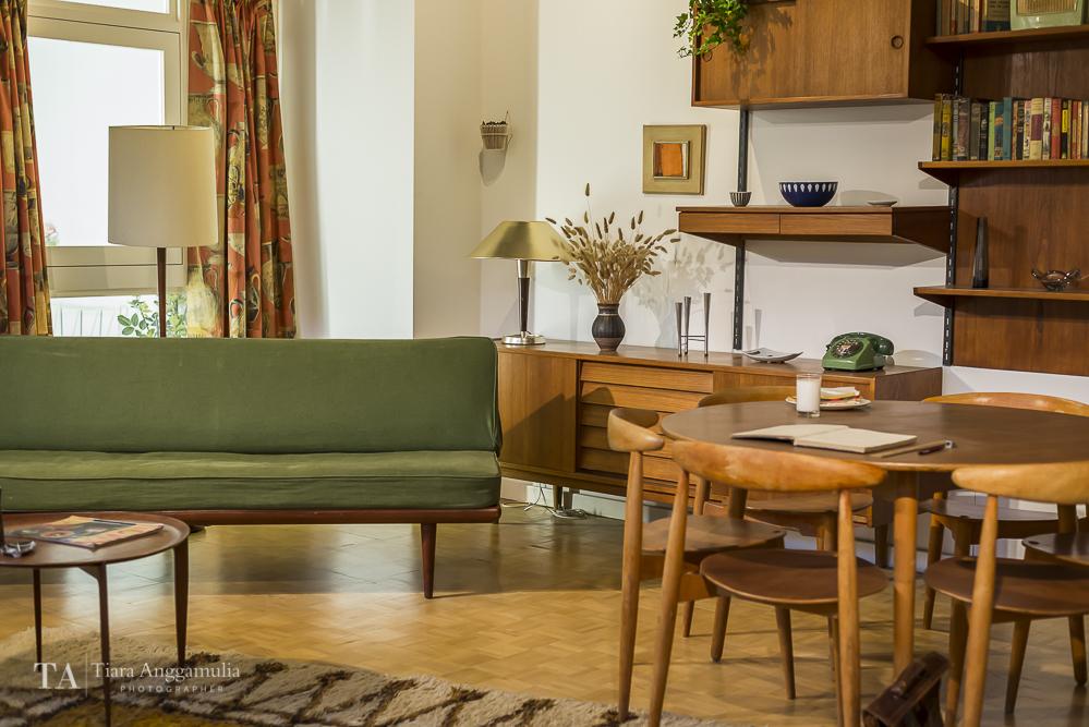 Period room decorated in Scandinavian furniture.