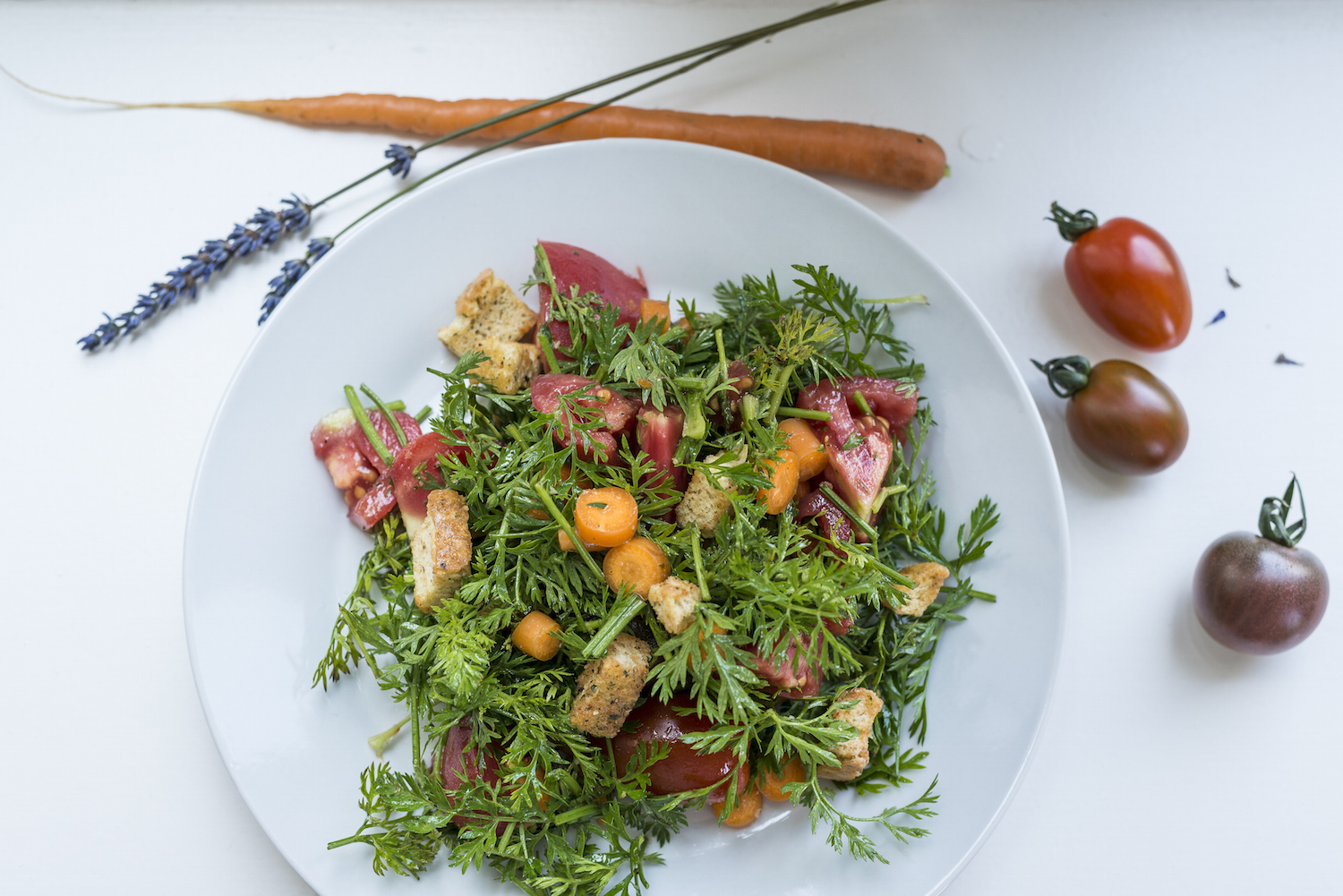 Salad with carrot leaves tomatoes carrots and croutons.jpg