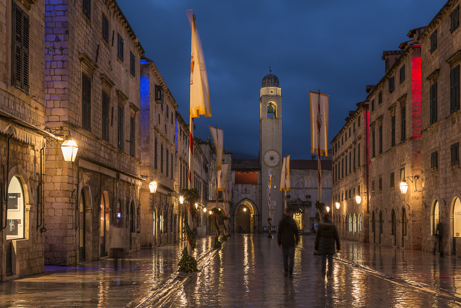 A view of Stradun, the main street in Old Town of Dubrvonik.