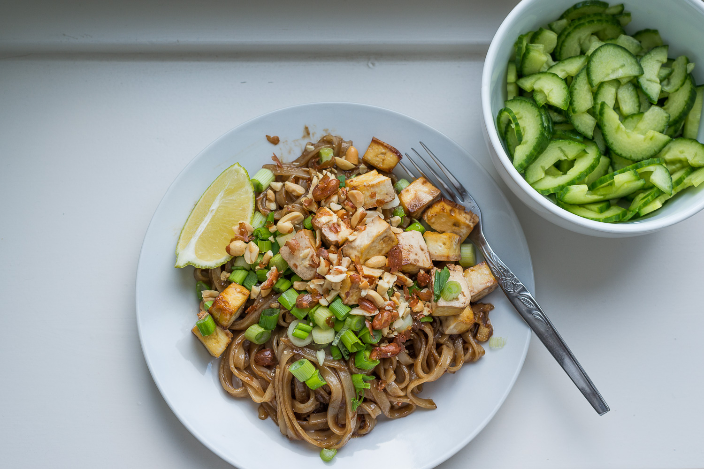 Home-made tofu drunken noodle.