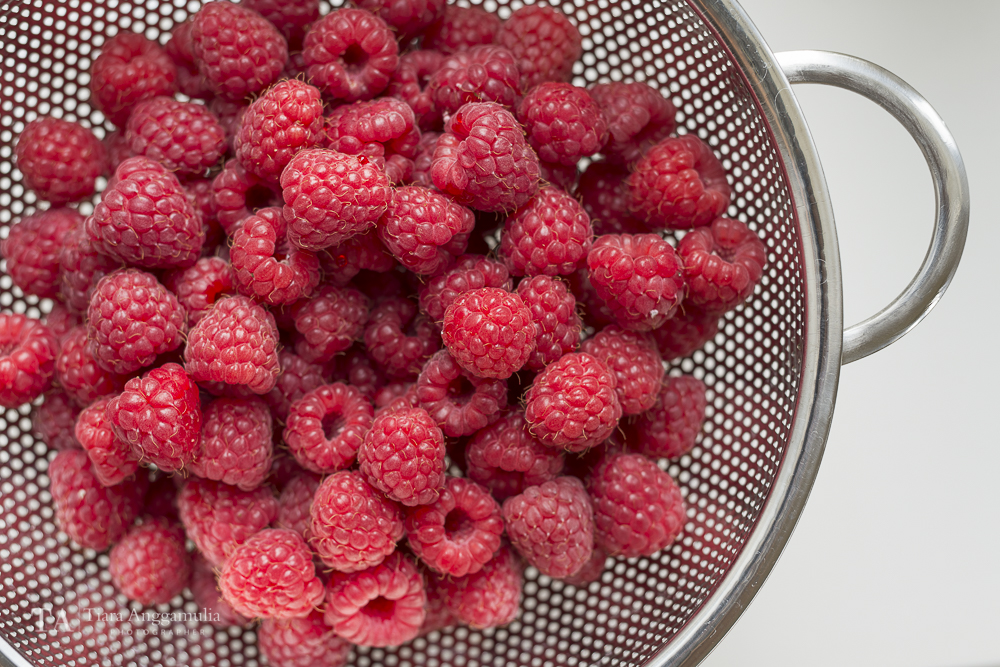 Freshly picked raspberries from the farm.