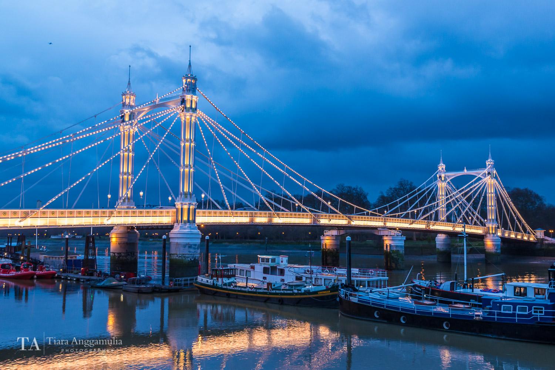 A view of Albert Bridge from Chelsea Embankment.