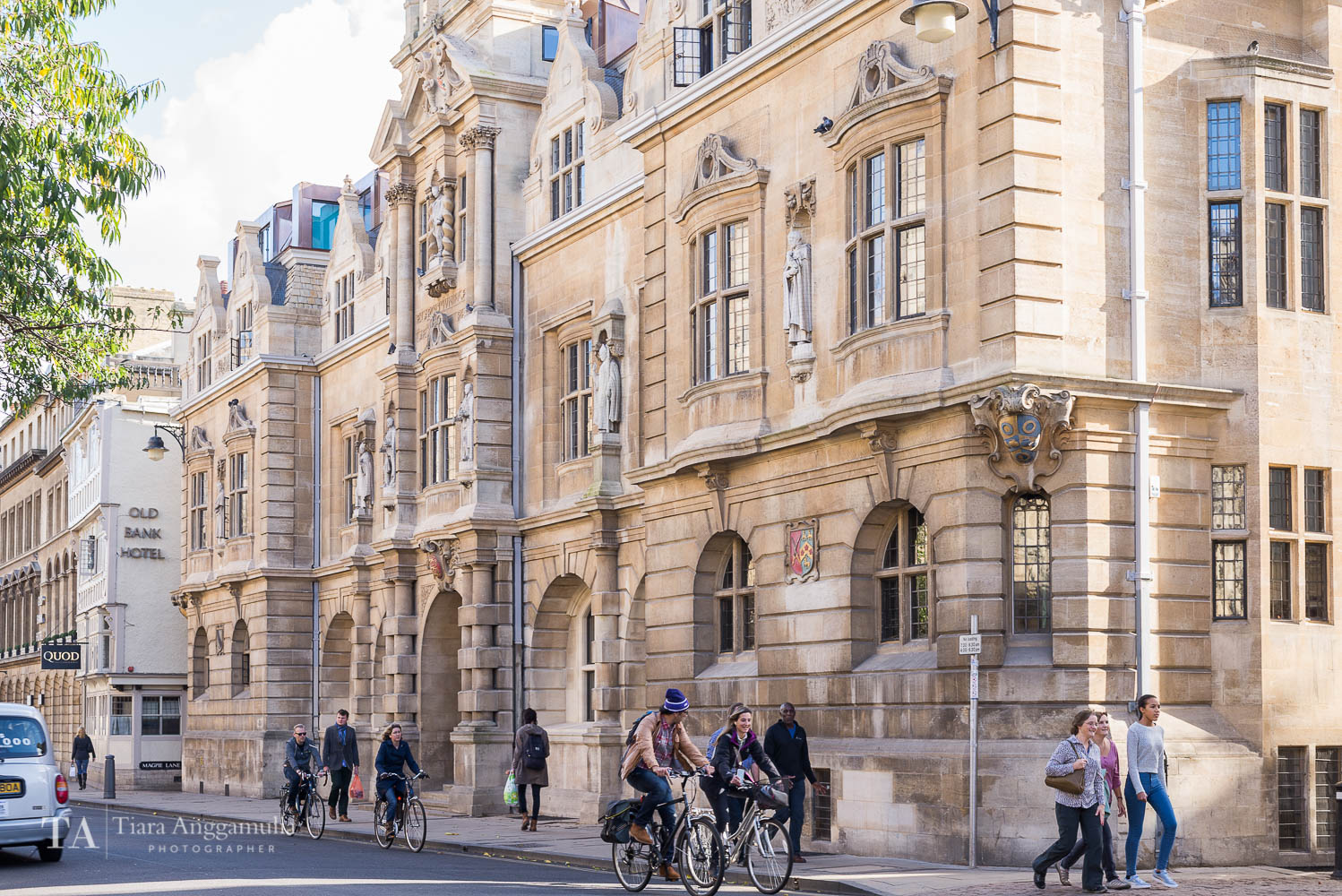 Cycling in central Oxford.