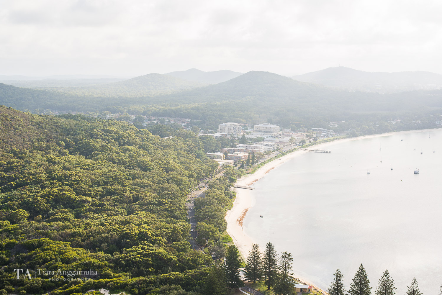 A view of Shoal Bay from the top of Tomaree Head Summit.
