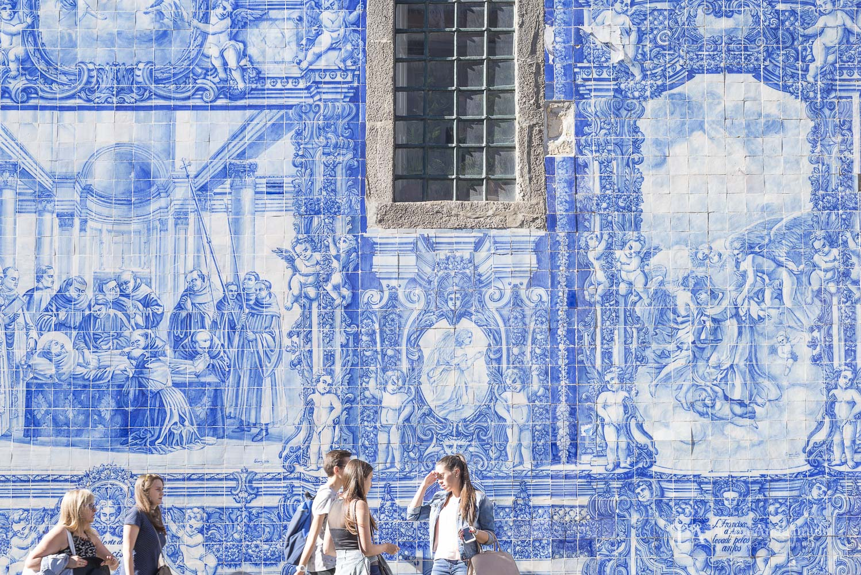 Blue tiles outside a Church in Porto.