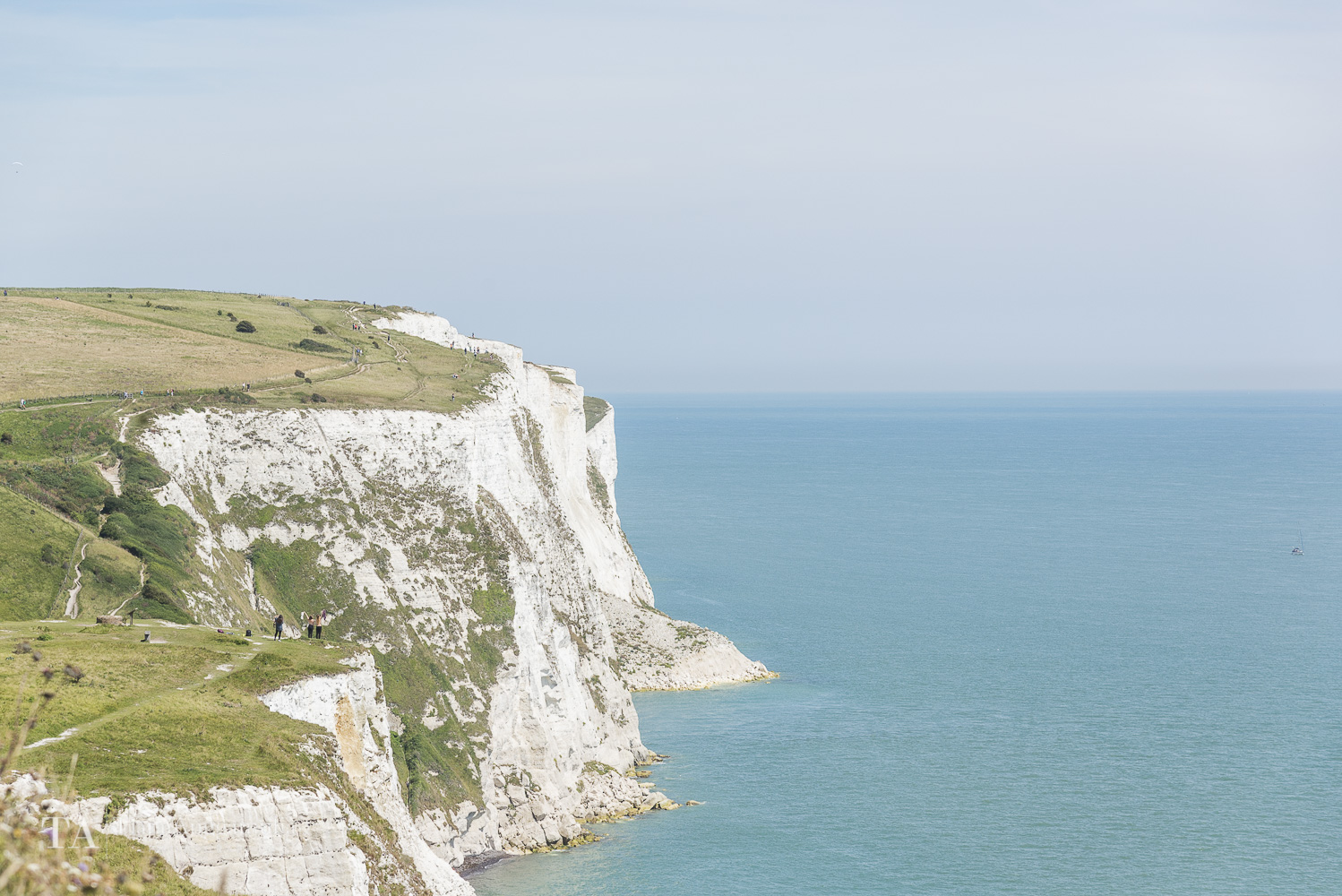 A view towards the white cliffs of Dover.