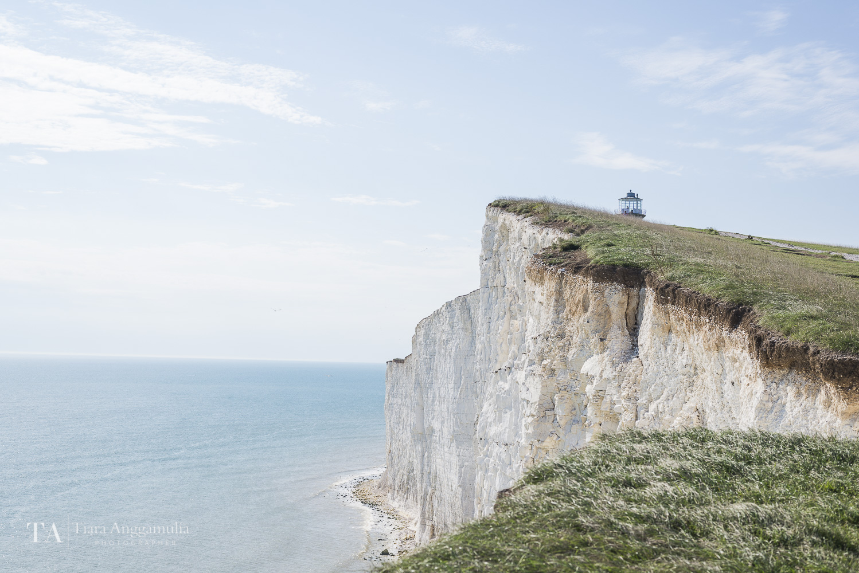 A view towards the white cliffs near Belle Tout Lighthouse.
