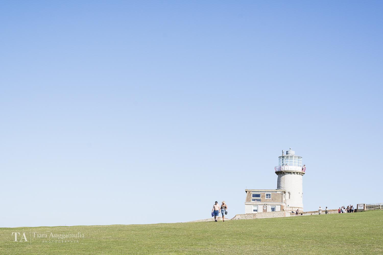 A view towards Belle Tout Lighthouse.
