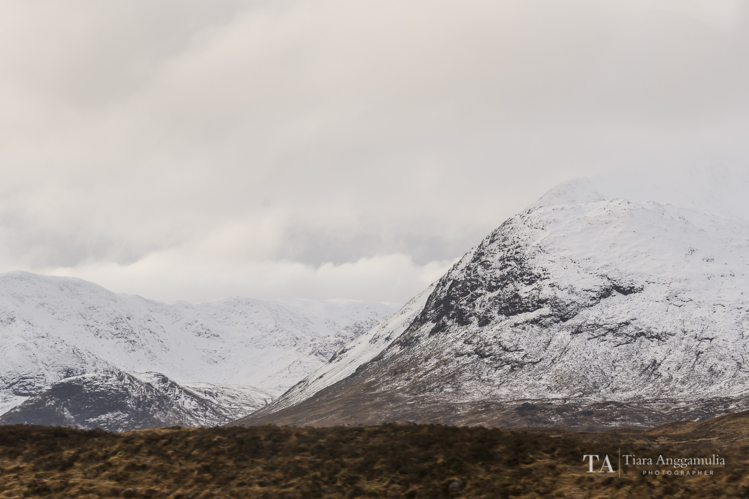 A view towards the snow peaks in Glencoe.