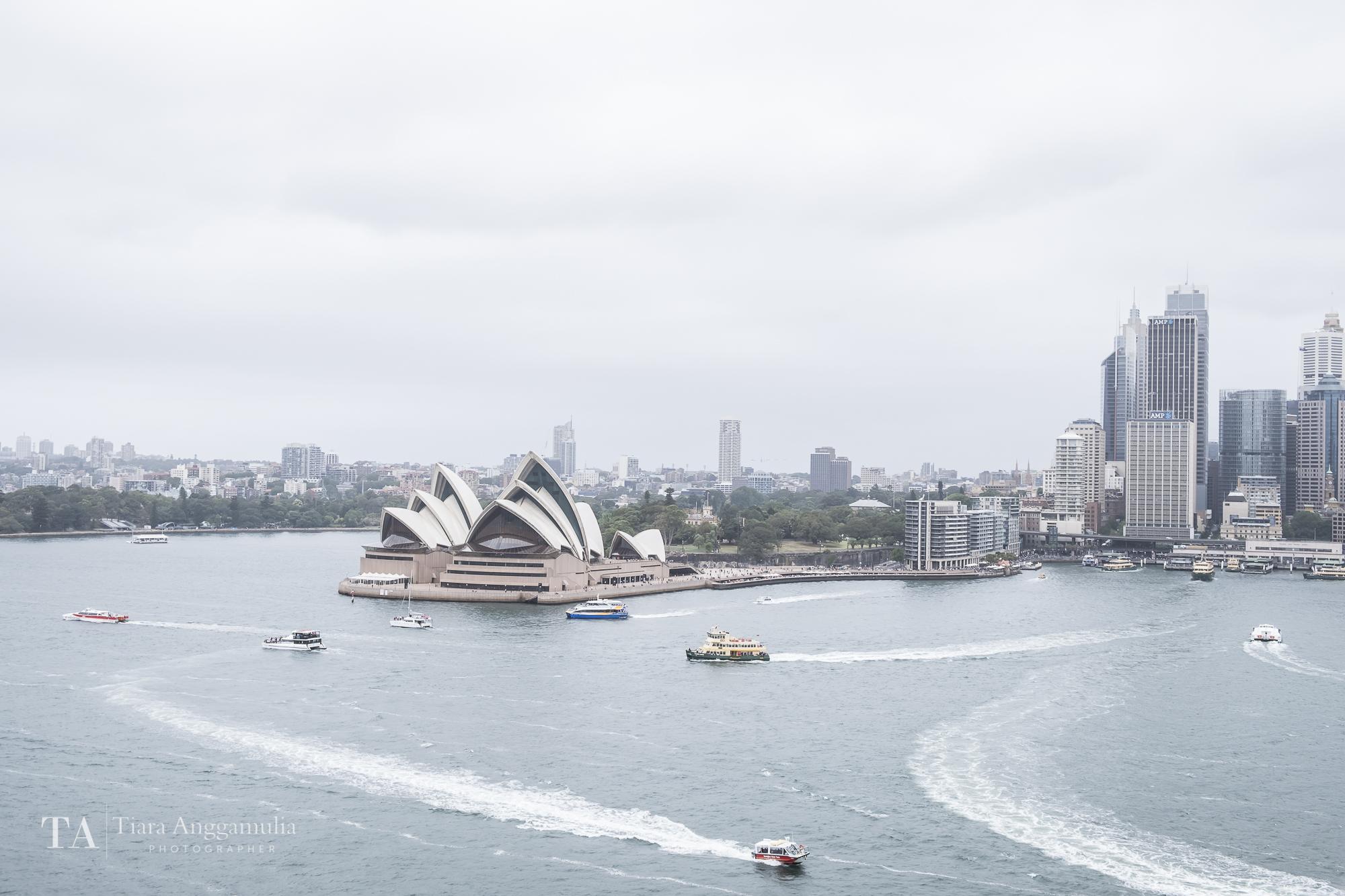The skyline of Sydney.