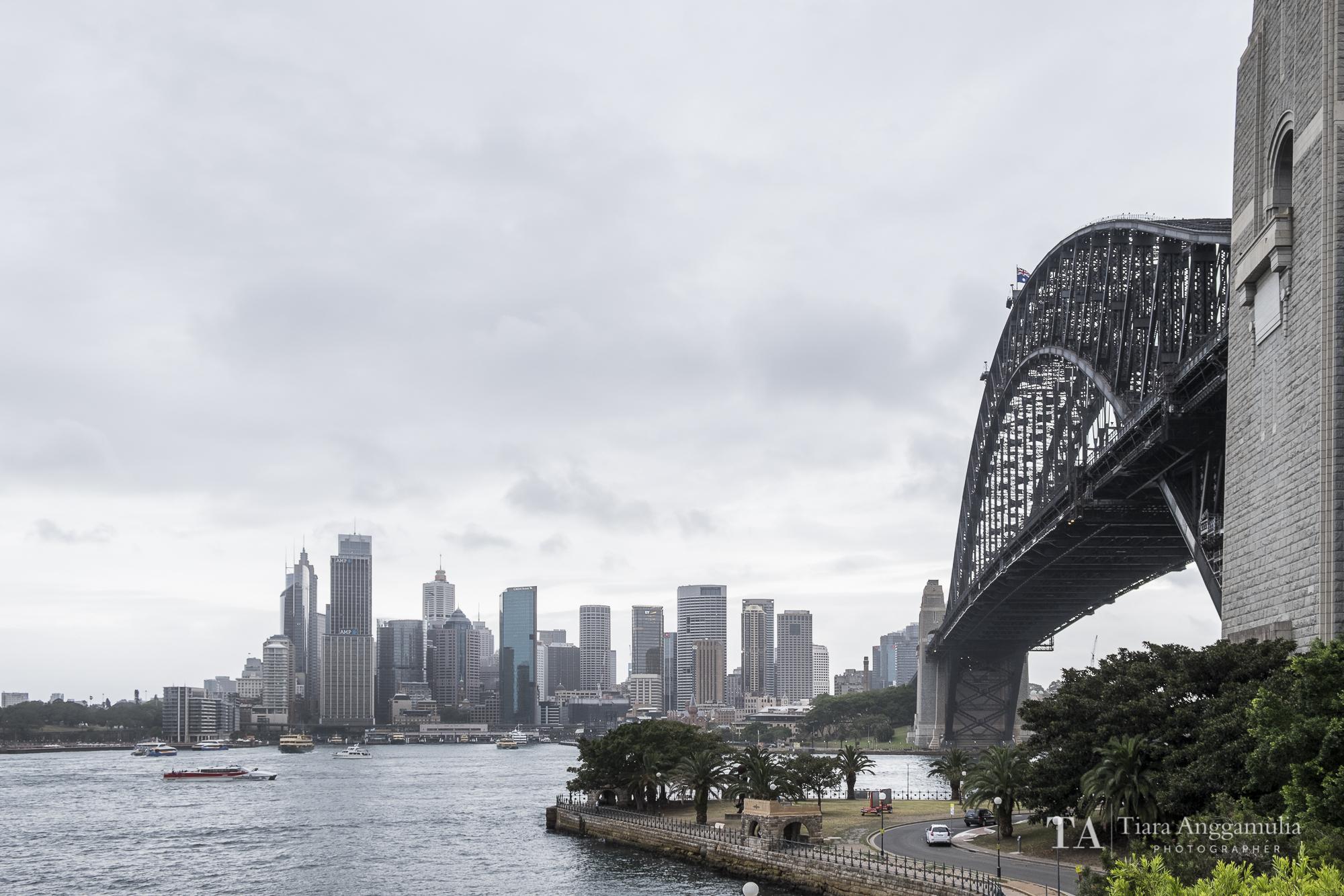 A view towards the Sydney Harbour Bridge.