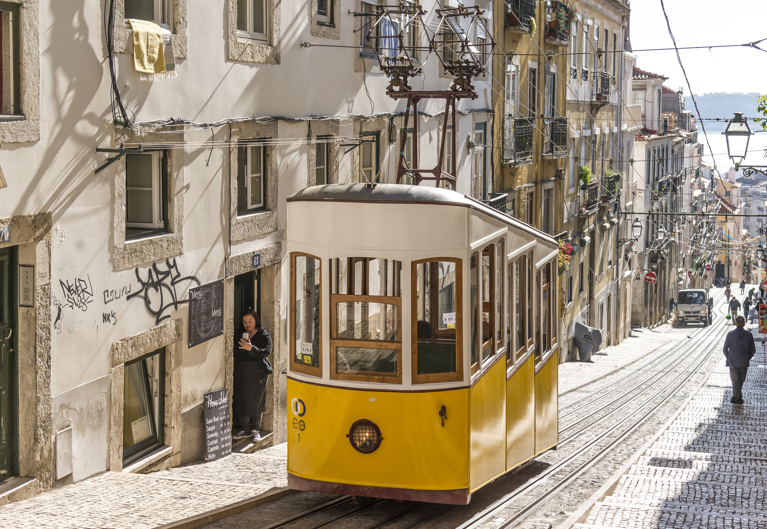 A view towards the tram in central Lisbon.