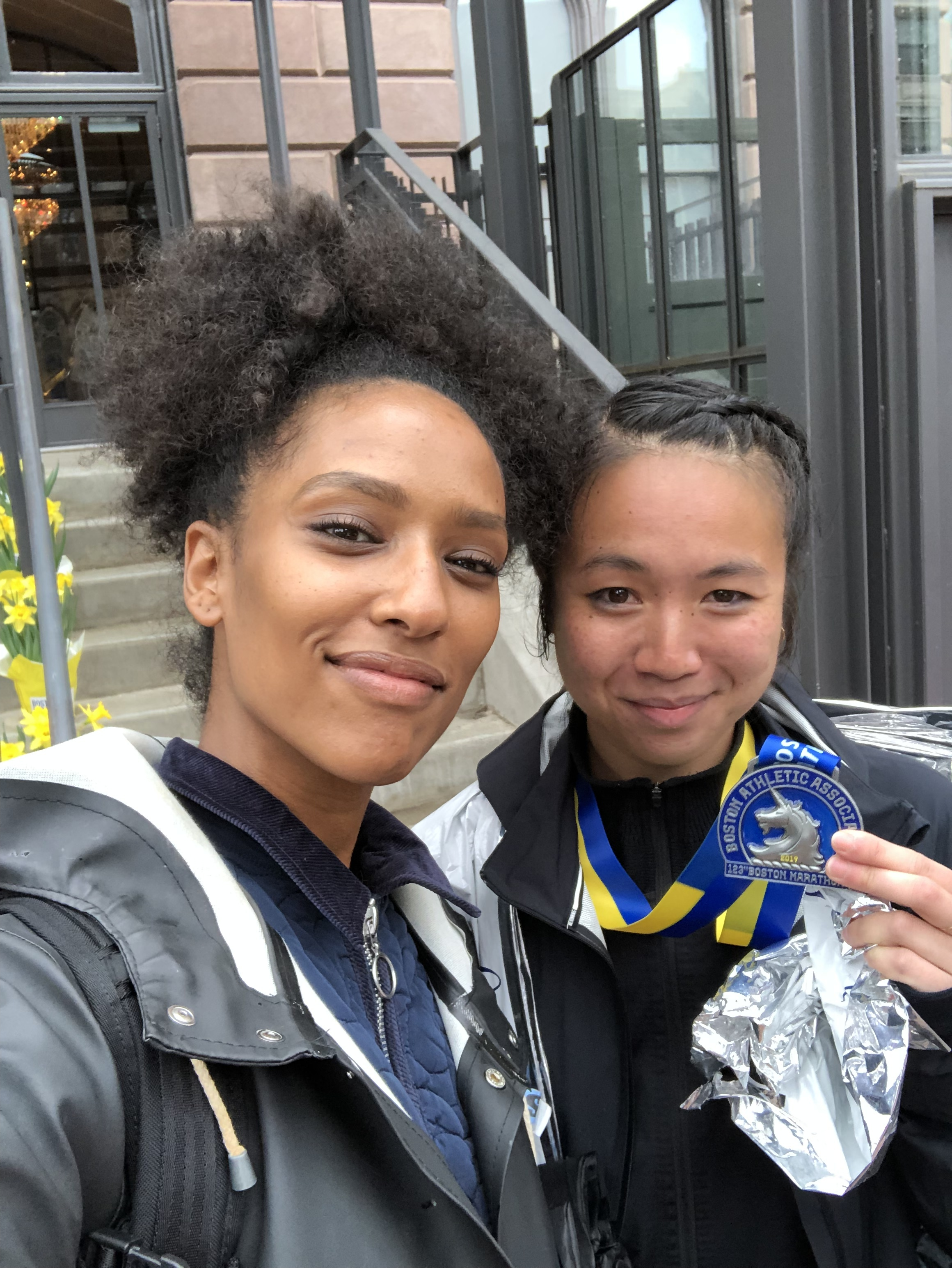Mekdes  took the bus the same morning to meet me by the finish line. I was fighting my tears because I was so sad, nevertheless she was there. So were all the people on the course and around the world. Thank you!