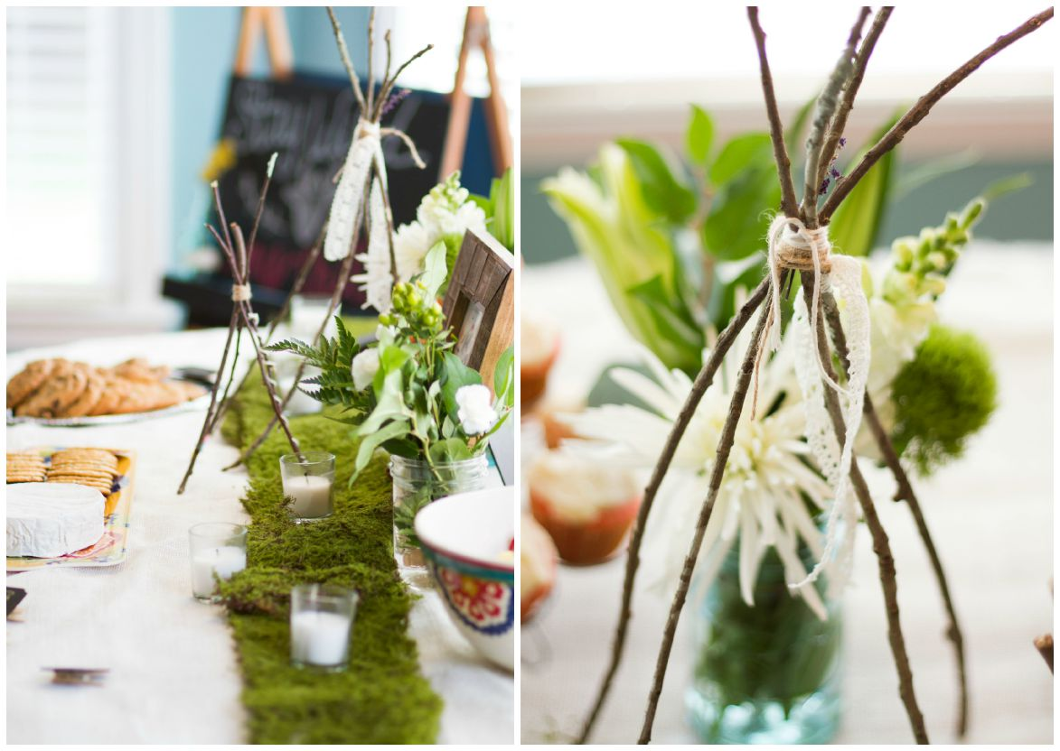 I'm already a lover for anything green and organic so the decor was easy for me to find & create. Moss lined the tables with pops of white and green flowers + candles. I also made these twig teepees as a centerpiece. My vision was one big and one small..representing mama + baby.