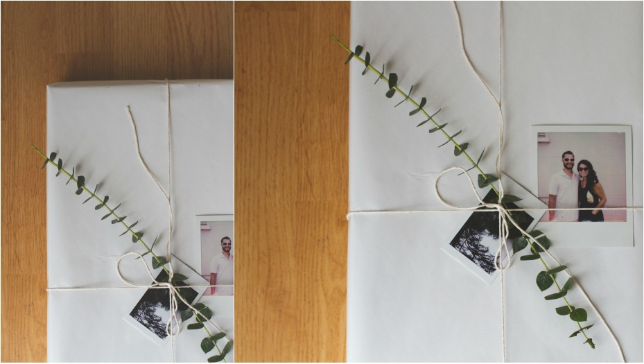 PICTURE PRESENTS! Use a simple paper with twine + greenery + special photos of sweet fleeting moments throughout the year.