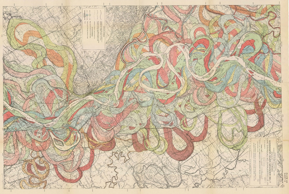 The entangled river. Part of the Mississippi meander belt showing present and former courses, mapped by geologist Harold Fisk in the 1940's.