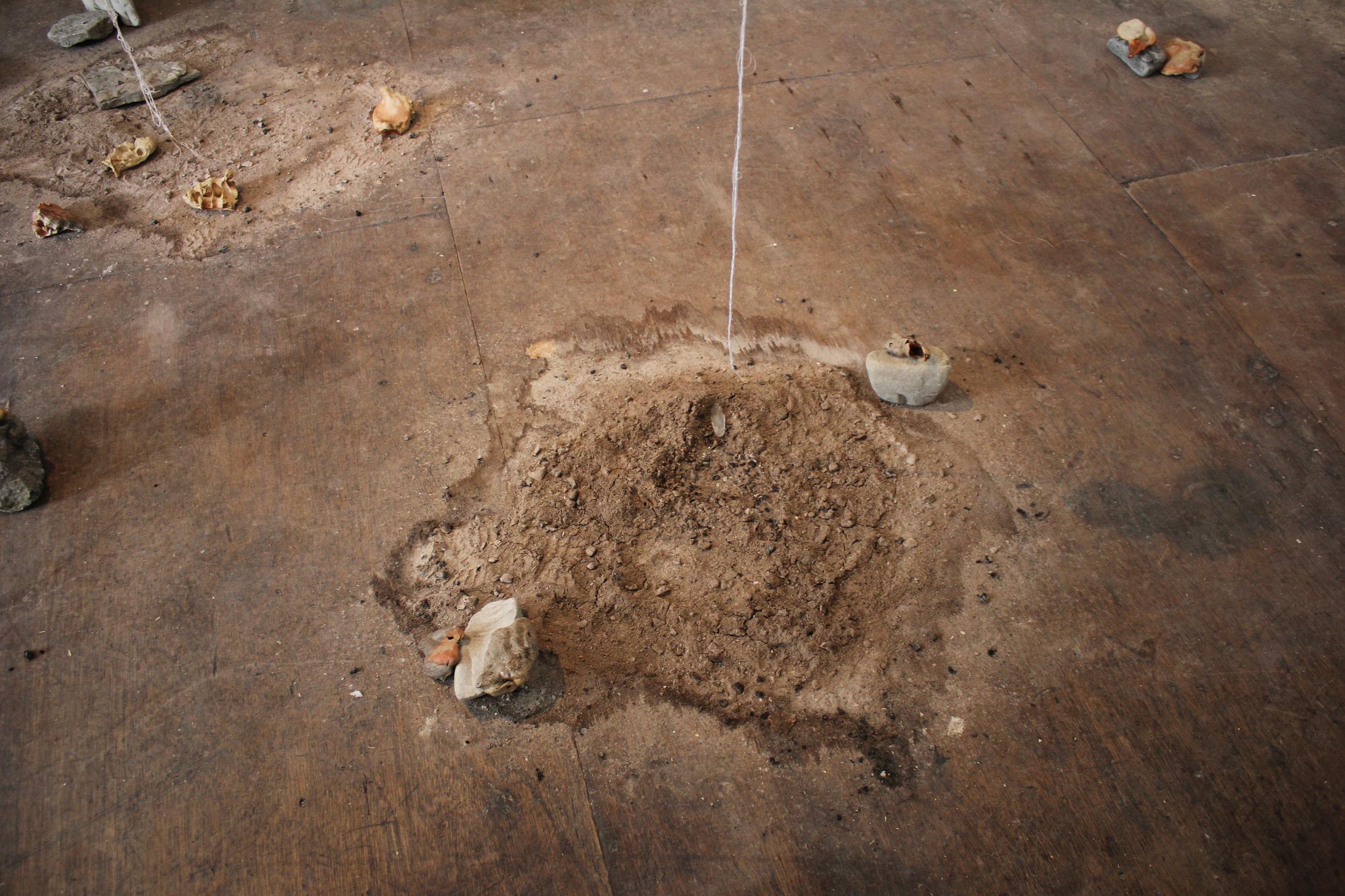 Ash from Anagama kiln, ceramic, rock (installation detail)