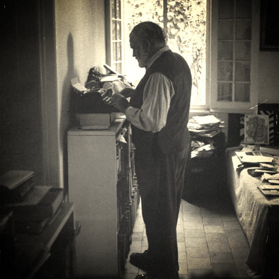 Ernest Hemingway stands while working. Photo: LIFE Magazine/Flickr