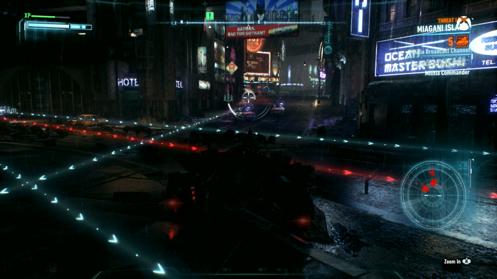 Avoid the lines to win drone fights. This turned me off the first time I saw a video, but when it comes to playing ityou'll be glad that the batcomputer predicts firing lines. You'll still take a lot of hits and would be totally screwed without this and the Batmobile's other abilities.