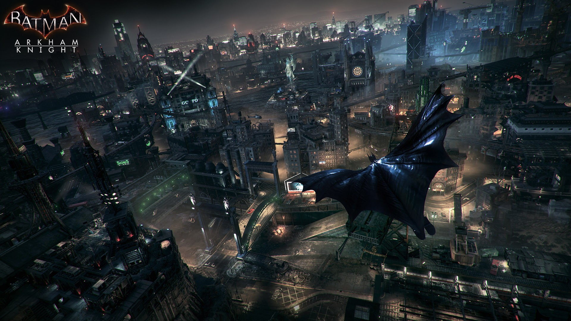 Gotham city is gigantic, beautiful, alive, and full of enemy aerial drones (which are fun to land on and explode) and watchtowers set up on skyscrapers.
