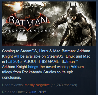 Testament to the botching of its releasethis header box on the game's Steam page says both that the game was released on June 23rd, and that it will be available in Fall 2015. 11,000 users are not happy.