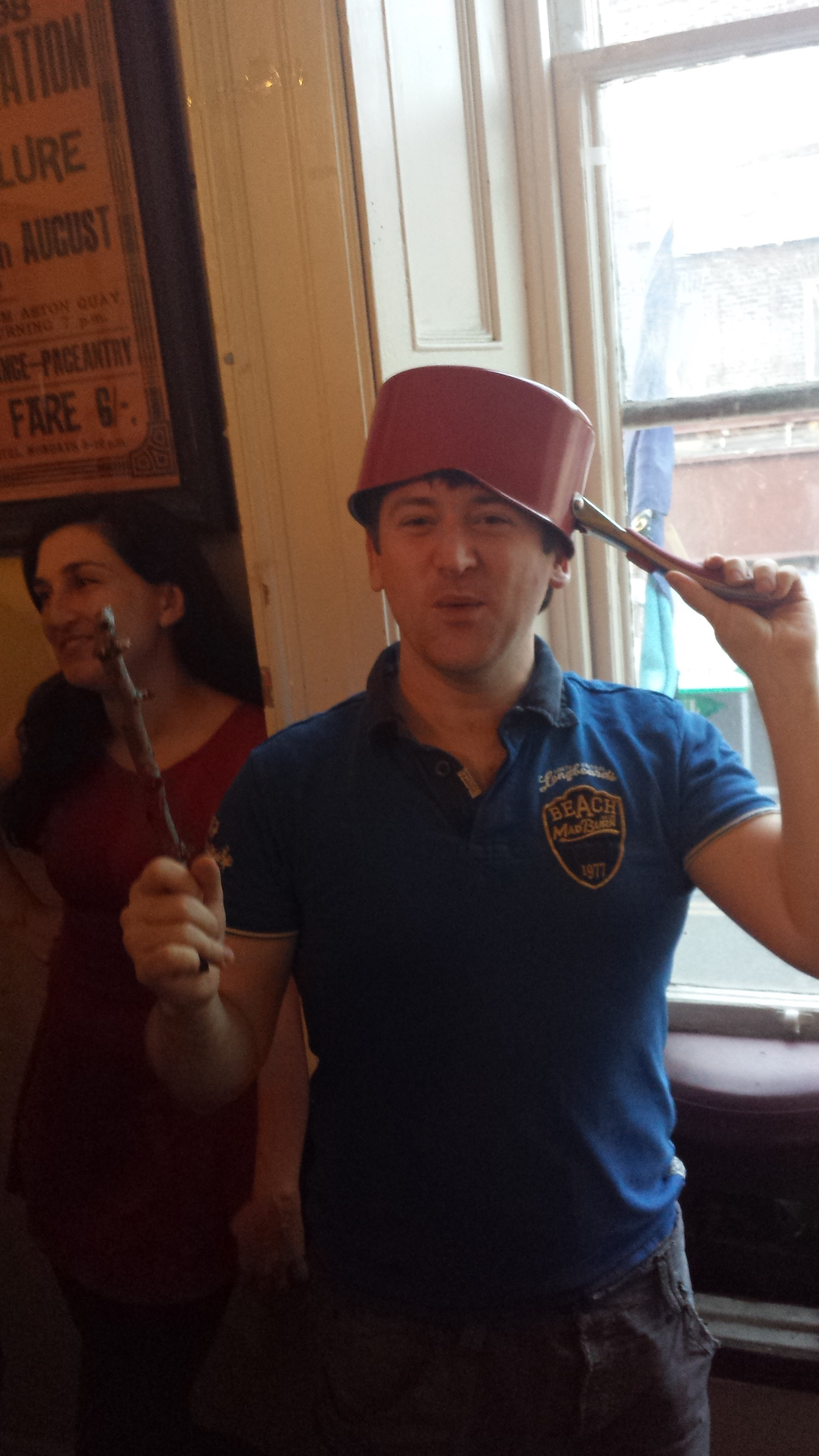 Colm engaging in a bit of cosplay at the Dungeoneering launch party in Dublin, July 2015, twig and cooking pot at the ready!