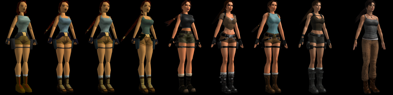 Lara Croft, now with added trousers, narrower hips, no visible tummy, and smaller boobs.