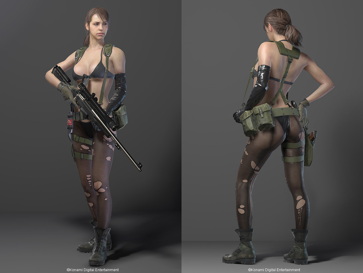 MGS V Spoiler:  The sniper, Quiet. Oh no, it's cool! She breathes through her skin, right? So her outfit makes sense. - Mate, you'd have been better off just saying