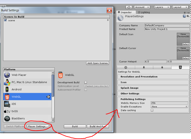 Click Player Settings... futher options appear in the Inspector, including Exception Handling.