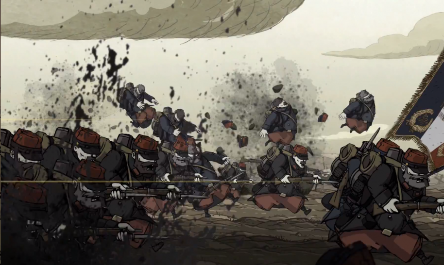 while it's light on gore, and shies away from having you do much in the way of killing, valiant hearts doesn't fail to impress the brutality of war upon the player. it's actually all the more effective for the fact that you can't retaliate. You can only keep charging.
