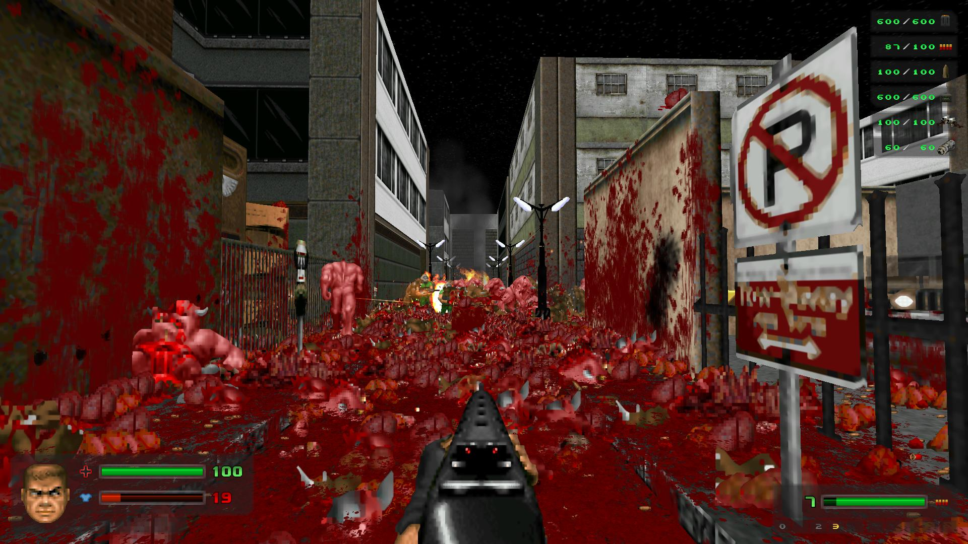 Brutal Doom 's ott gore doesn't exactly inspire regret or sympathy. Because demons!