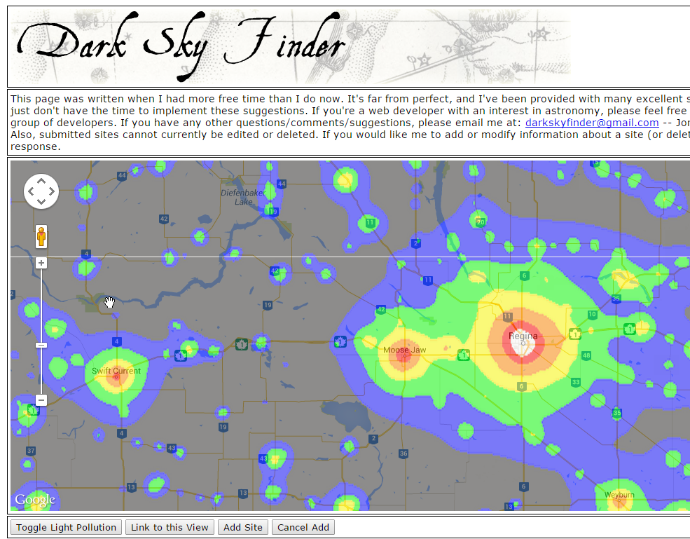 Dark Sky FInder   I usually find that if you can't get all the way into the shady grey area, the blue, or even sometimes green will be dark enough for great photos.