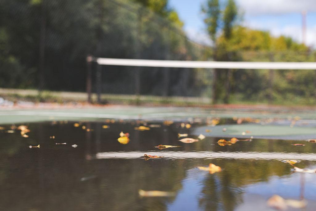 Leaves floating on the tennis court after a recent rainfall at Lumsden Beach, Saskatchewan.