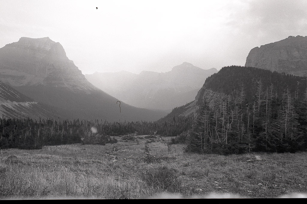 Logan's Pass as seen from The Going-To-The-Sun Road. Glacier National Park | Bronica ETRSi Ilford Delta 100 + 1-Stop push