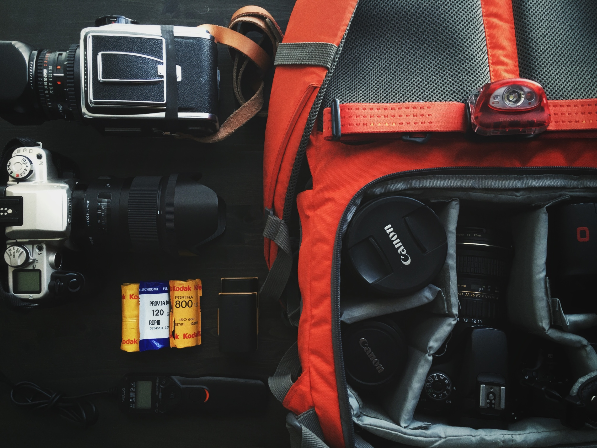 I have trouble deciding which camera to leave behind so I often take as many as I can carry.